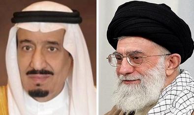 King Salman of Saudi Arabia (left) and Ali Khamenei (right), the Supreme Leader in Iran