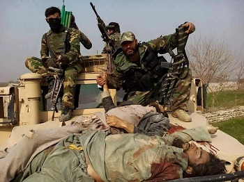 Afghan Army in Nangarhar with dead Taliban militants