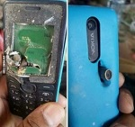 The images of a Nokia phone that apparently saved a man's life in Afghanistan.