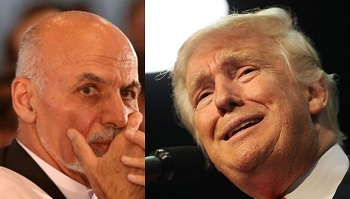 Ghani (left) and Trump (right)