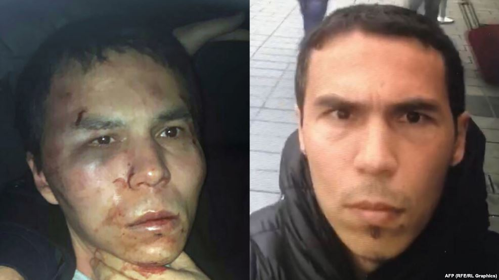 A combo photo of Uzbek national Abdulkadir Masharipov, suspected of being the gunman who killed 39 people in a mass shooting at an Istanbul nightclub on New Year's Day. The photo on the left was released by police after his capture.