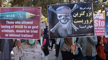 Anti-US protesters slam the US use of a massive bomb in Afghanistan, during a rally in Kabul, Afghanistan, April 16, 2017.