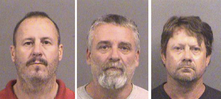 Curtis Allen, 49, left, Gavin Wright, 49, and Patrick Eugene Stein, 47, are shown in booking photos from 2016 in Wichita, Kansas.