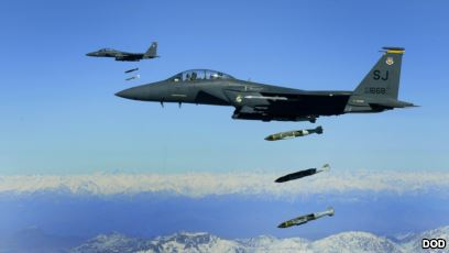 U.S. Air Force F-15E Strike Eagle aircraft from the 335th Fighter Squadron drop 2,000-pound joint direct attack munitions on a cave in eastern Afghanistan Nov. 26, 2009. The 335th is deployed to Bagram Airfield, Afghanistan, from Seymour Johnson Air Force Base, N.C. (DoD photo by Staff Sgt. Michael B. Keller, U.S. Air Force/Released)