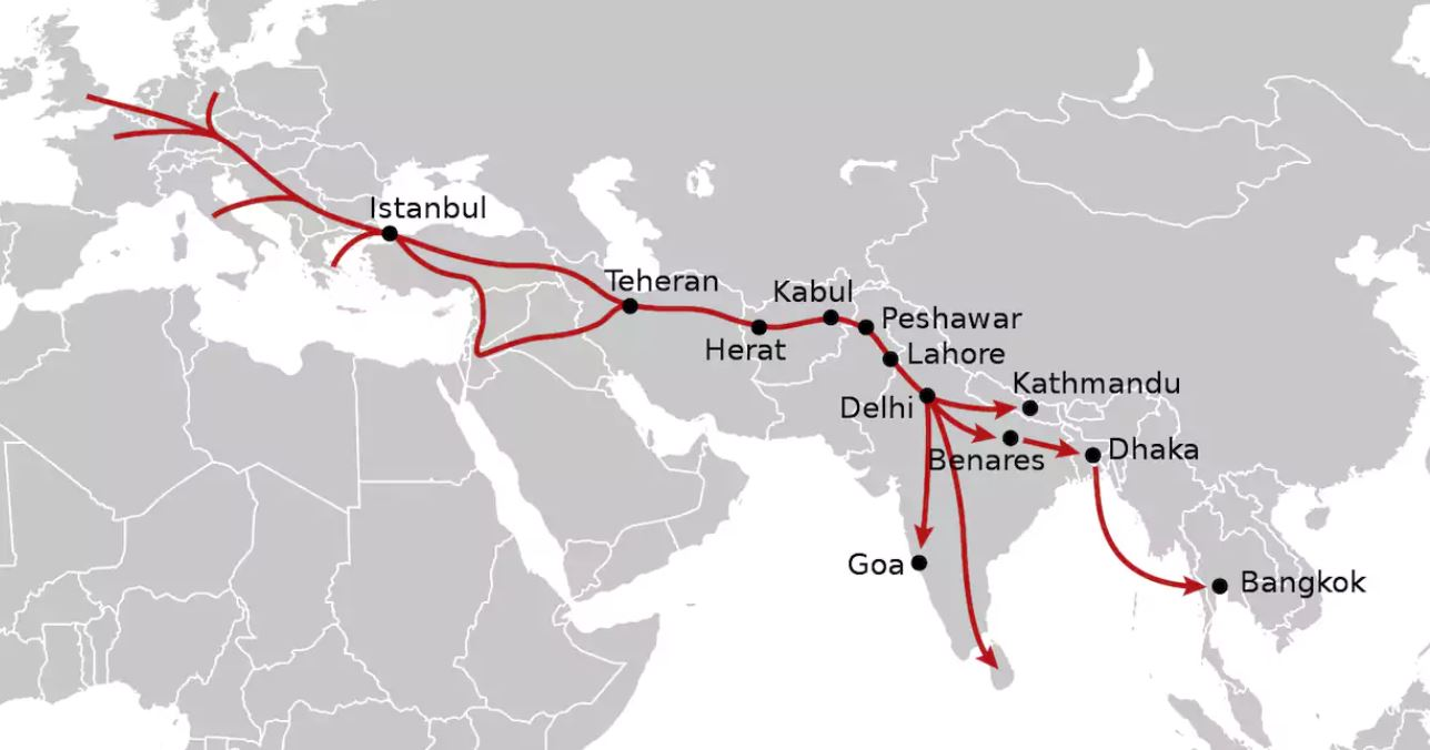 The classic Hippie Trail CREDIT: NORDNORDWEST/WIKICOMMONS