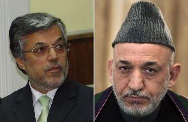 Younus Qanooni (L), Hamid Karzai (R).
