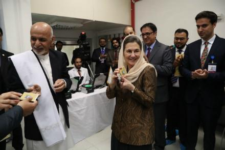 President Ashraf Ghani and First Lady Rula Ghani receiving their ID cards.