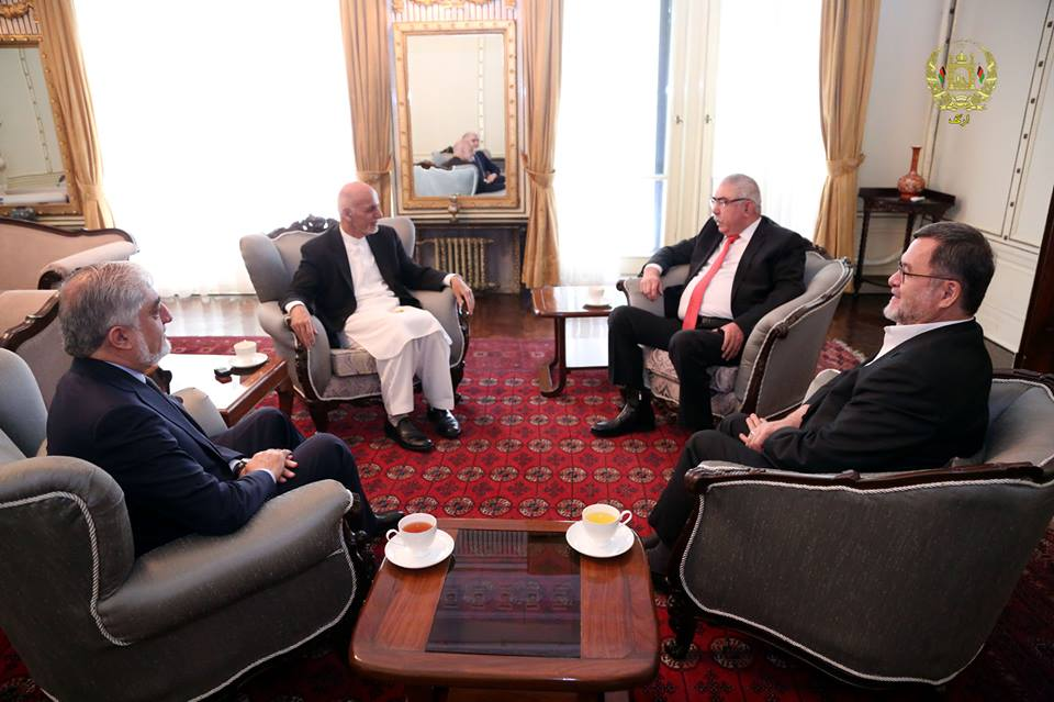 Dostum (right) meeting with NUG leaders