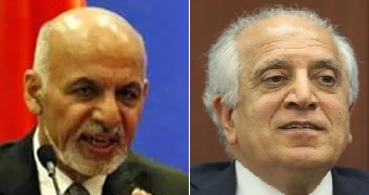 Ashraf Ghani (left) and Zalmay Khalilzad (right)