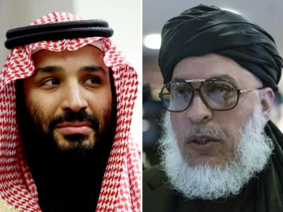 Saudi Crown Prince Mohammed bin Salman (L), Taliban chief negotiator Sher Mohammad Abbas Stanikzai.