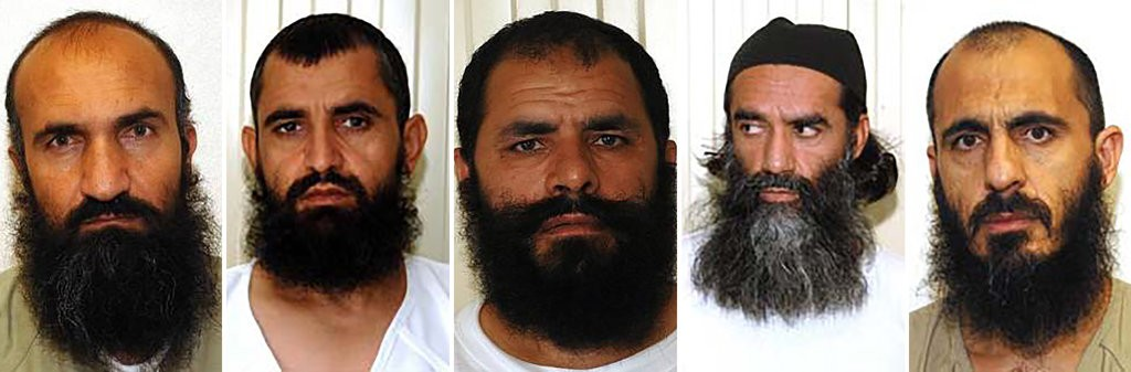 From left, the former Guantánamo Bay detainees Mullah Khairullah Khairkhwa, Abdul Haq Wasiq, Mullah Fazel Mazloom, Mullah Norullah Noori and Mohammad Nabi Omari. They are now part of the Taliban team negotiating the withdrawal of American troops from Afghanistan. US Dept. of Defense