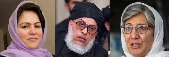 Fawzia Koofi (left), Taliban Rep. Stanikzai (center), and Sima Samar (right)