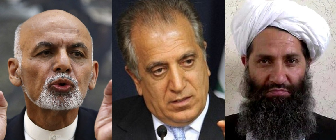 Afghan President Ghani (left), US Envoy Khalilzad (center), Taliban leader Hibatullah (right)