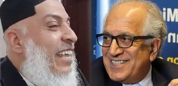 Taliban negotiator Stankezai (left) and Zalmay Khalilzad (right)
