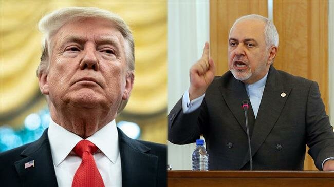 ran's Foreign Minister Mohammad Javad Zarif (R) and US President Donald Trump